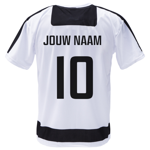 Voetbalshirt 'Zwart en wit' bedrukken eigen naam